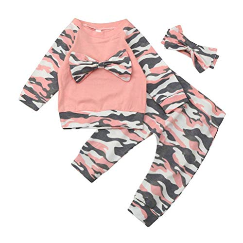 (Vanvo Newborn Infant Baby Boys Girls Toddler Camouflage Bow Tops Pants Outfits Set Clothes for 0-2 Years Old (Pink))