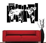 Dalxsh Baumstamm Wandtattoo Aufkleber Sieben Kontinente Weltkarte Wand Tattoo Tapete Dekor Grafik Kunst Wand Applique38X52Cm
