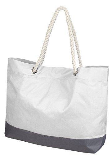 Borsa da mare o per la spesa, taglia XL, disponibile in diversi colori, bianco bianco
