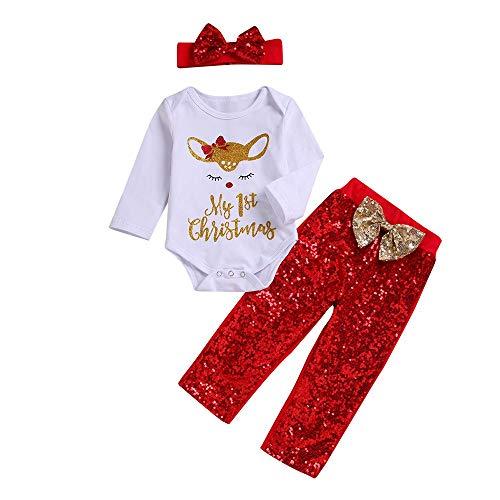 Familie Für Fünf Kostüm - Huihong Kleinkind Baby Mädchen 3 Stücke Weihnachten Kleidung Sets Cartoon Hirsch Strampler Overall + Hosen + Stirnbänder Pyjama Sets (Weiß, 3-6 Monate /70)