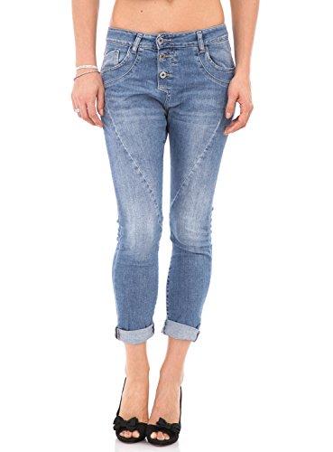 PLEASE - P78a jeans pantaloni baggy boyfriend 5 tasche da donna l denim chiaro