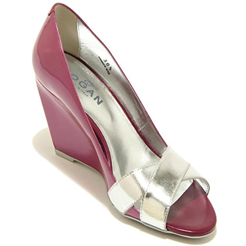 7009F decollete spuntata donna HOGAN zeppa h 227 fasce incrociate shoes women viola/argento
