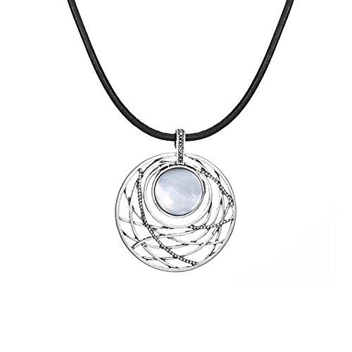 Schale Schnitzen (J.MeMi'S Legierung Anhänger Halsketten Schale Schnitzen Kreisförmiges Böhmen-Art für Frauen Valentines Gesschenk , Silver)