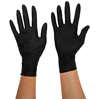 Bodyguards GL897 Powder Free Disposable Black Nitrile Gloves - Box of 100 (Small)