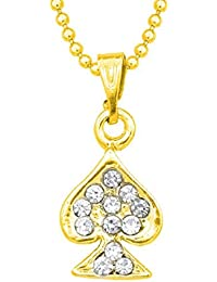 Ruchi Creatation 14k Yellow Gold Plated Rd Cut White CZ Alloy Pendant With Chain