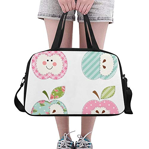 Rote rosa frische Frucht Nette Dame Apple-Gewohnheit große Turnhalle Totes Eignung-Handtaschen Reise-Seesäcke mit Schultergurt-Schuhbeutel für Übung Sport-Gepäck für die Frauen der Frauen im Freien -