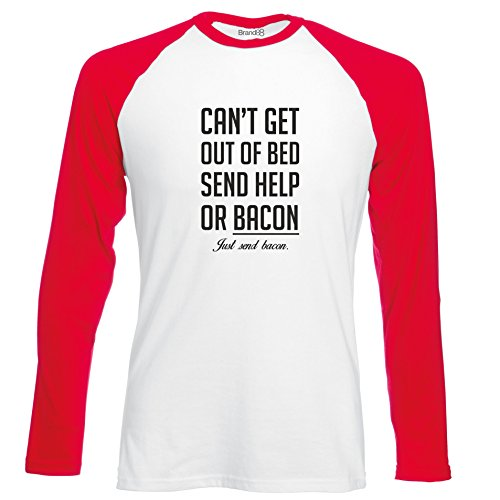 Brand88 - Can't Get Out Of Bed Send Bacon , Langarm Baseball T-Shirt Weiss & Rot