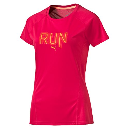 PUMA Damen T-Shirt Run Short Sleeve Tee W, Rose Red, L, 513745 02 (Mens Tee Kopfhörer)