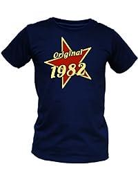 T-Shirt als lustiges Geschenk zum Geburtstag - Original 1982 mit Stern - Geburtstagsgeschenk mit Jahrgang - Blau