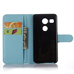 LG Nexus 5X Google Handyhülle Book Case LG Nexus 5X Google Hülle Klapphülle Tasche im Retro Wallet Design mit Praktischer Aufstellfunktion - Etui Blau
