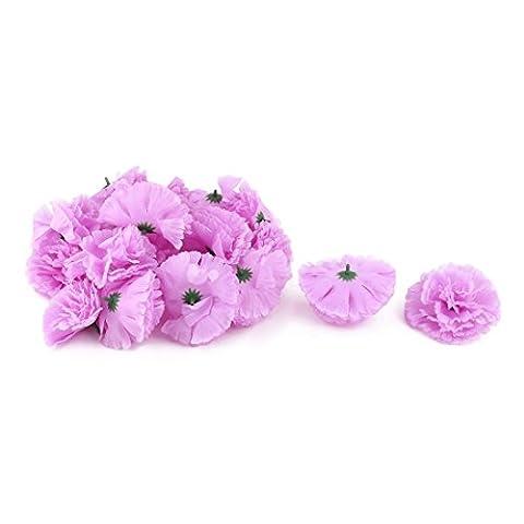 sourcingmap® Fabric Wedding Party Artificial Carnation Flower Heads DIY Craft Decor 20pcs Light Purple