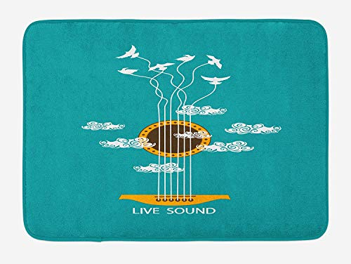 tgyew Guitar Bath Mat, Abstract Music Themed with Birds on Strings and Clouds Illustration, Plush Bathroom Decor Mat with Non Slip Backing, 23.6 W X 15.7 W Inches, Turquoise Marigold White (String Chair)