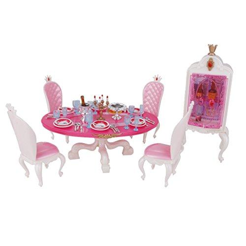 Sharplace Casa Delle Bambole Mobili Tavolo Da Pranzo con Armadio Set Miniatura per Barbie