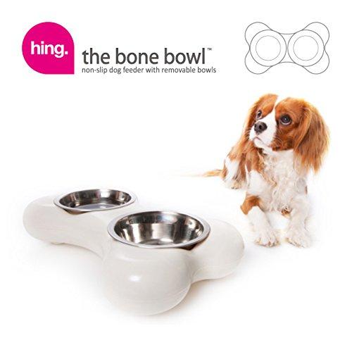 Hundenapf aus Edelstahl in Knochenform – mit zwei herausnehmbaren Schüsseln, weiß - 5
