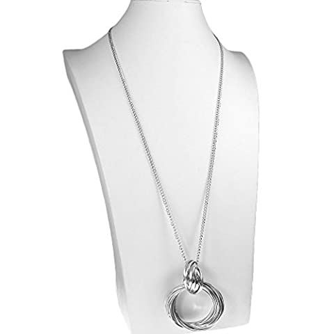 Long silver plated chunky double ring loop dangling pendant curb