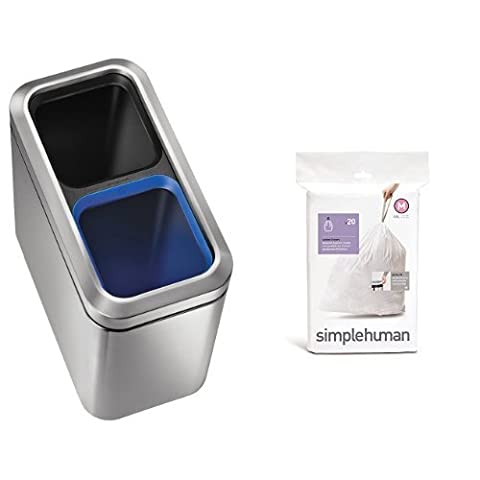 simplehuman Slim Open Recycler Can, 20 L - Brushed Stainless Steel with Code C, Custom Fit Bin Liners, 20 Pack - 10-12
