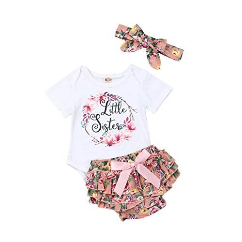 WANGSAURA 3 STÜCKE Vatertag Neugeborenes Baby Mädchen Kleidung Sommer Outfit Sets Strampler Shorts Stirnband für Papa Mama Fathers Day (Weiß & Rosa jünge Schwester, 80 für 6-12 Monate)