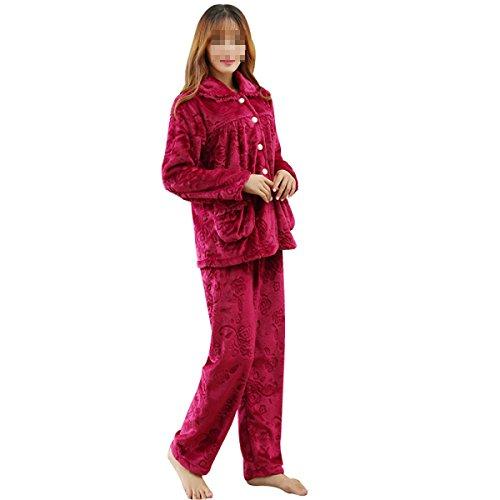 QPALZM Automne Et Hiver Flanelle Chaude Pyjama Impression Intérieure En Europe winered
