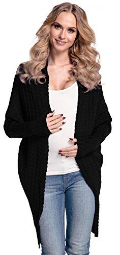 Happy mama donna. prémaman giacca di maglina cardigan lungo. 337p (nero, it 40/42)