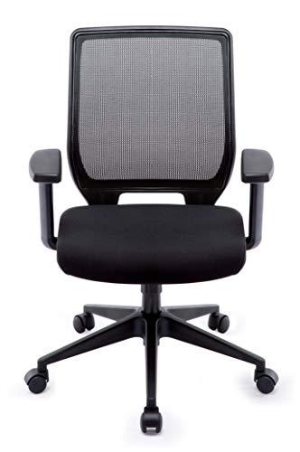 Ergonomischer Bürostuhl, Schreibtischstuhl mit Netzrücken, Höhenverstellbarer Chefsessel  Drehstuhl mit Wippfunktion für Soho- oder Büroarbeit, schwarz