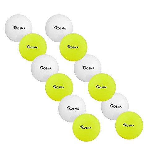Kosma Set mit 12 glatten Hockeybällen | Outdoor Sports PVC Übungsball - (6 Weiß, 6 Gelb)