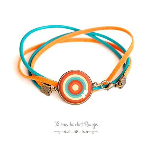 Glas-Cabochonarmband, türkisblaues und wildlederoranges Leder, unendliche Rundungen, orange und türkis, geometrisch geformt