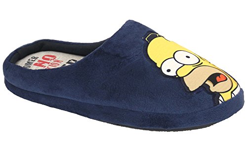 Mule-Pantofole da donna, motivo: Homer Simpson sul Woo-Hoo Duff Novelty imbottito Navy - simadams