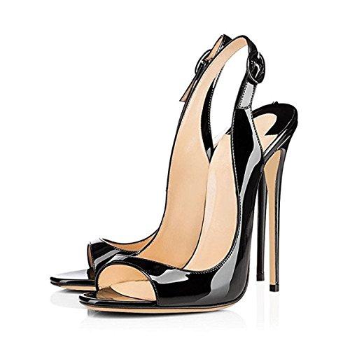 Damen Peep Toe Sandalen Pumps High Heels Stiletto Lackleder Slingback Schwarz