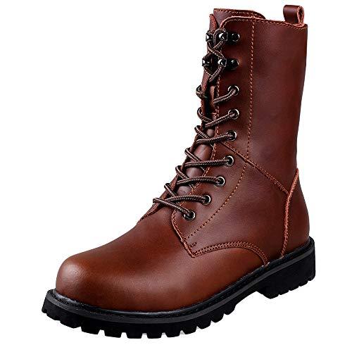 LIUYL Lederstiefel für Herren Martin Stiefel Military Army Schnürstiefel High-Top-Schuhe Work Patrol Boots Outdoor-Reitstiefel Schuhe,Brown-44 -