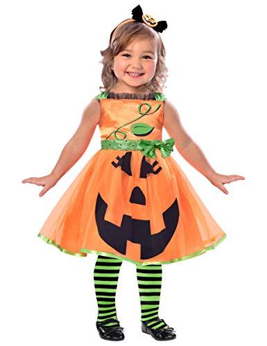 Generique - Lustiges Kürbis-Kostüm für Kinder Halloween orange-schwarz-grün -
