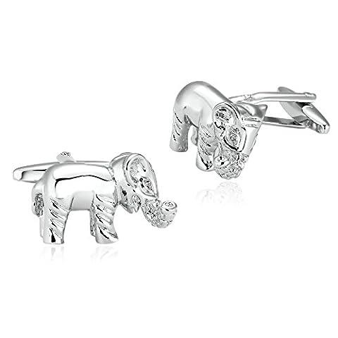 AMDXD Bijoux en acier inoxydable Boutons de manchette pour homme Marche éléphant Argent Boutons de manchette 2.5x 1.5cm