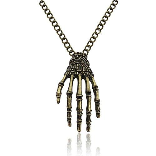 MEILI-Kühle Punkschädel Hand Greifen der Kettenanhänger Pullover Kette Bronze-Legierung Palme