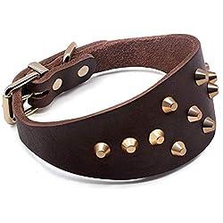 Tineer Ajustable de cuero Greyhound Collar de perro Personalizado Tachonado Remache Collar Mascota Collar de perro Durable Accesorios para mascotas