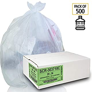 Aluf Plastics 20-30 Gallon Trash Bags - (COMMERCIAL 500 PACK) - Source Reduction Series Value High Density 10 MICRON gauge - Intended for Home, Office, Bathroom, Paper, Styrofoam