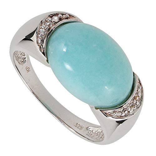 Schmuckboerse24 anello da donna in argento 925 con topazio bianco e amazzonite