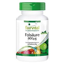Folsäure 800µg - Großpackung für 8 Monate - hochdosiert - vegan - 250 Tabletten - Vitamin B9