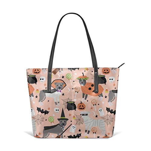 Frauen aus weichem Leder Tote Umhängetasche Pitbull Halloween-Kostüm Hund Vampire Ghost Mummy Peach Fashion Handtaschen Satchel (Bad Teacher Kostüm)