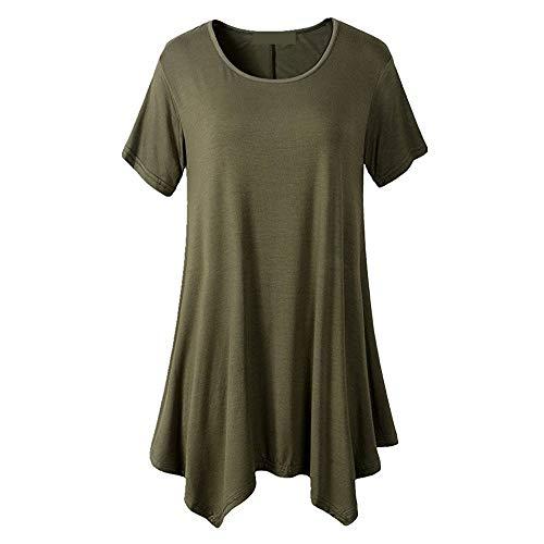 LOPILY Tunika Tanktop Oberteil Frauen Einfarbig Stretch Falten Locker Shirt Bluse Hemd Tops Sommer Elegant Unregelmäßiger Saum Bequeme Kurzarm T-Shirt Top Bluse (Grün,EU-40/CN-XL)