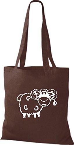 Shirtstown Stoffbeutel Tiere Schaf Schäfchen Braun