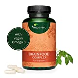 Integratore per CONCENTRAZIONE Vegavero® | Memoria, Studio e Produttività | 100% naturale | Con Omega 3, Guaranà, Ginseng, Ginkgo e Vitamine | 120 capsule | Vegan