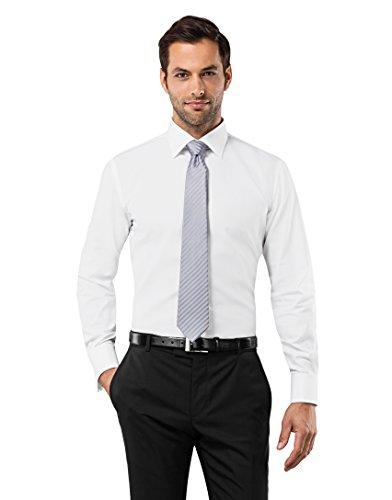 Vincenzo Boretti Herren-Hemd Bügelfrei 100% Baumwolle Slim-Fit Tailliert Umschlagmanschette Uni-Farben - Männer Lang-Arm Hemden für Anzug mit Krawatte Business Hochzeit Weiß 39/40