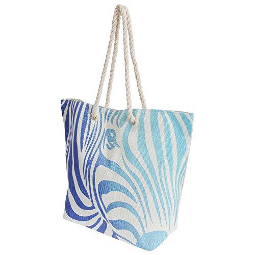 FLOSO - Borsa da Spiaggia Fantasia Zebrata e Manici in Corda - Donna Bianco/Blu