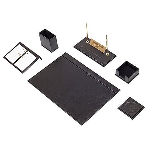Bowa 8 teilige Leder Büro Schreibtisch Set mit individuelles Namensschild in Schwarz