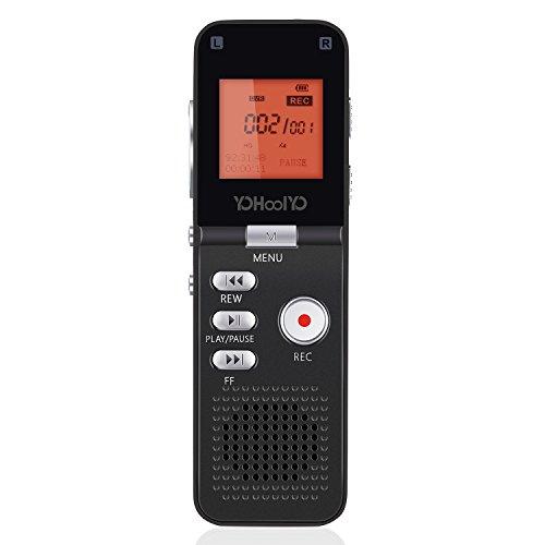 Preisvergleich Produktbild YOHOOLYO Digitales Diktiergerät Voice Recorder 8GB Digitalrecorder mit LCD-Bildschirm MP3 Player Schwarz SV801 für Vorlesungen, Konferenzen, Interviews usw
