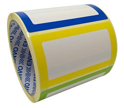 Namensschild Aufkleber Sortierte Farben 250 Etiketten Pack (3 Farben) - 90 x 50 mm