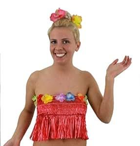 LADIES HAWAIIAN TOP + 1X FLOWER HAIR CLIP HAWAII FANCY DRESS ACCESSORY HULA ELASTICATED BRA BANDEAU BRALET WITH FLOWERS BEACH PARTY(RED)