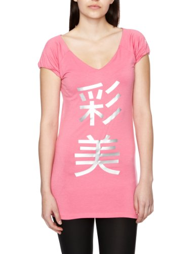 Asics - Maglietta a girocollo Kanji, manica corta, da donna, Rosa (Carmine Rosa), XL Rosa - Carmine Rosa