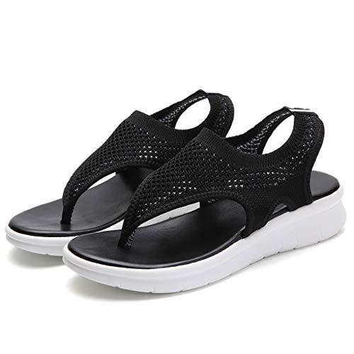 ABsoar Sommer Keilabsatz Sandalen Damen, Cross Strap High Heels Schuhe Sexy Spitzen Pumps Knöchelriemen Partyschuhe Elegent Bequeme Flip Flops (Schwarz,40) -