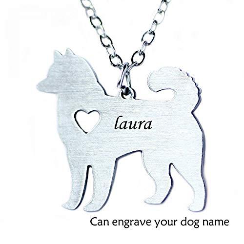 LIUSHUGUANG Maßgeschneiderte Alaskan Malamute Hundehalsband Edelstahl Kostenlose Gravur Tier Mode Cartoon Hundehalsband kann Worte darauf aufnehmen,Silver