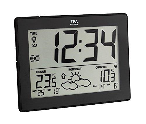 TFA Dostmann Metro Funk-Wetterstation, 35.1125.01, mit Uhrzeit im Großformat, Wettervorhersage, Außentemperatur, Innentemperatur